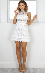 Hail The Queen dress in white crochet