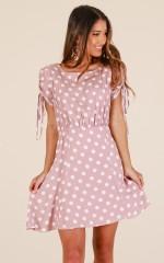 Hand Me Down dress in mocha polkadot