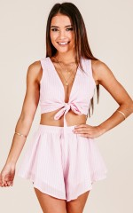 Hazel two piece set in blush stripe