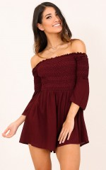 Heart Of Gold playsuit in wine