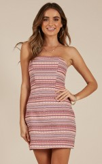 Home Again dress in pink multi