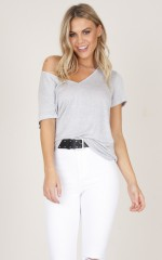 Home Town Girl Top in Grey Marle