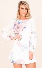 Hours Ago dress in white floral