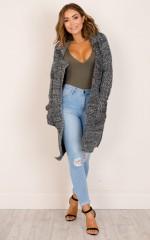 Husky knit cardigan in grey marle