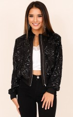 I Still Shine bomber jacket in black sequin