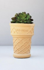 Ice Cream Cone planter in natural