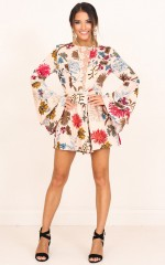 If I Stay playsuit in beige floral