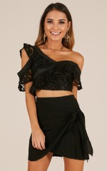 Innocent Lies crop top in black lace