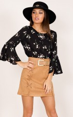 Just a Friend top in black floral print