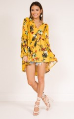 Just Bloomed tunic dress in mustard floral