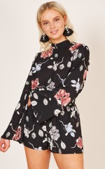 Just Go Ahead playsuit in black floral