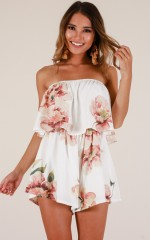 Keep Calm playsuit in white floral