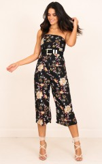 Keep Coming Back jumpsuit in black floral