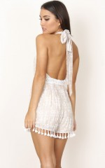 Knot Neck playsuit in beige lace