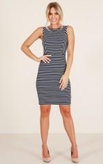 Light The Night dress in navy stripe