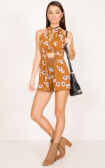 Like A Dream playsuit in rust floral
