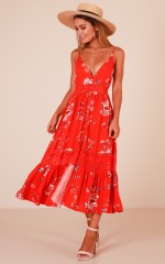 Lily Field maxi dress in red floral