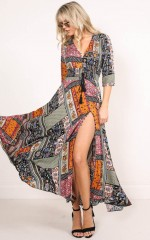 Lone Traveller maxi dress in multi print