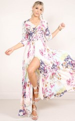 Lone Traveller maxi dress in pink floral