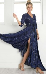 Lone Traveller Maxi Dress in midnight floral