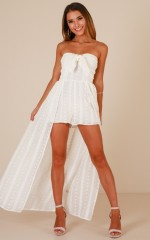 Long Drive maxi playsuit in white embroidery