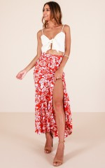 Losing My Way skirt in red floral