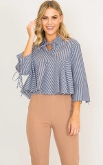 Martinez top in navy stripe