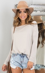 Slouch top in mocha stripe
