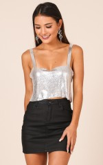 More Than Friends top in silver glomesh