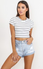 New You crop top in white stripe