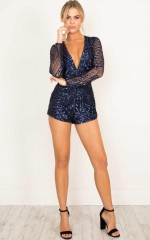Nine Lives Playsuit in Navy Sequin