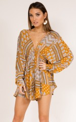 No Favours playsuit in mustard print