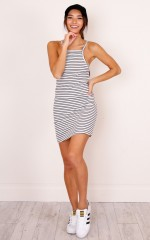 Nobody But You dress in white stripe
