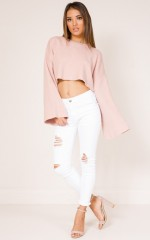 Not About Love knit crop in blush