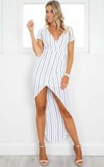 Open Road Dress in White Stripe
