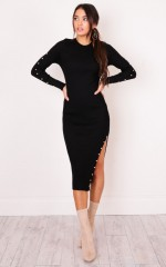 Pastel Wallpaper Knit Dress in black
