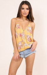 Perfect Melody top in mustard floral