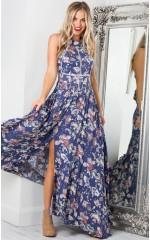Run Alone maxi dress in indigo floral