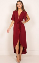 Romance Felt Dress in wine