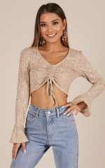 So Smitten crop top in beige marle