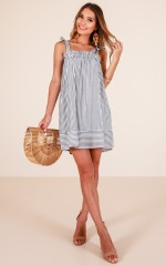 Settle Down dress in blue stripe