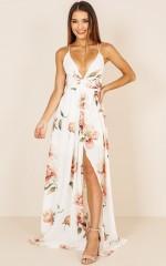 Shine Through maxi dress in white floral