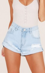 Small Talk denim shorts in light wash