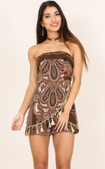 Solo Dance playsuit in brown print