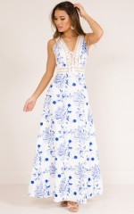 Soul Mate maxi dress in blue floral