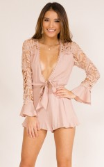 Speaking To You playsuit in blush crochet