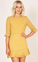 Stepping Out dress in mustard