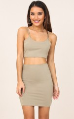 Sugar Kisses two piece set in khaki