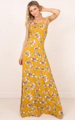 Sunny Reputation maxi dress in mustard floral