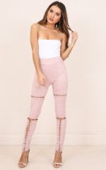 Sweet Embrace leggings in blush suedette